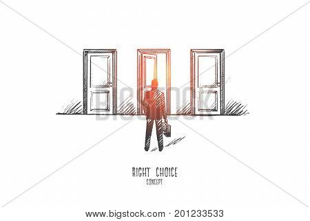 Right choice concept. Hand drawn man faces a choice. Man chooses the path isolated vector illustration.