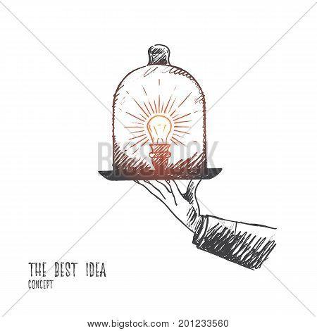 The best idea concept. Hand drawn light bulb as symbol of creativity. Light bulbs on a tray isolated vector illustration.