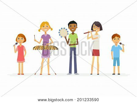 Happy schoolchildren playing music - cartoon people characters isolated illustration. Boys and girls playing xylophone, flute, tambourine and singing. Make a great presentation with these cute students