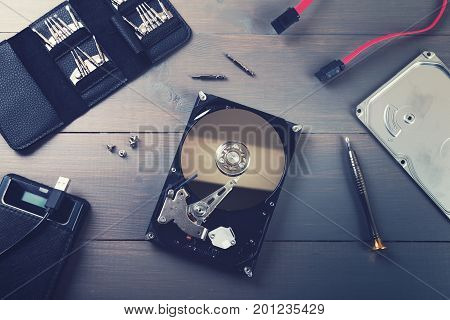 computer hardware repair and service. top view