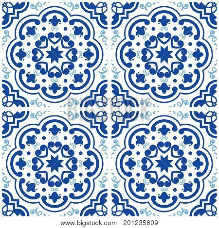 Azulejos Portuguese tile floor pattern, Lisbon seamless indigo blue tiles, vintage geometric ceramic