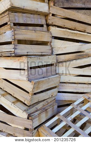 Piles of wooden crates in a market