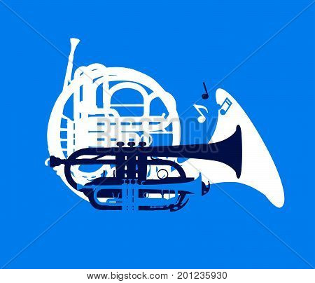 Silhouette of musical wind instruments, jazz festival card, vector illustration