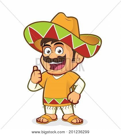 Clipart picture of a mexican man cartoon character giving thumbs up