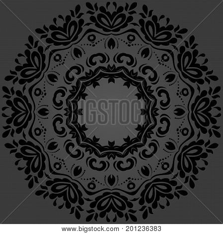 Oriental vector pattern with arabesques and floral elements. Traditional classic black round ornament. Vintage pattern with arabesques