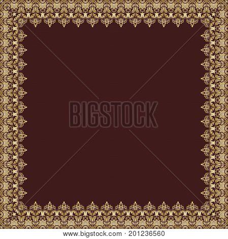Classic vector golden square frame with arabesques and orient elements. Abstract ornament with place for text. Vintage pattern