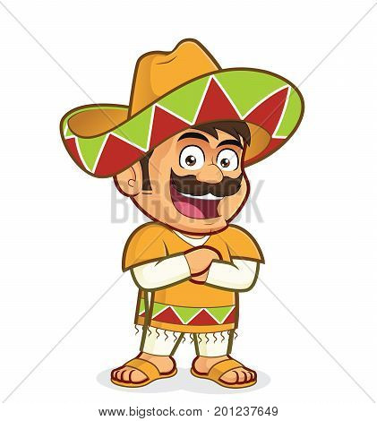 Clipart picture of a mexican man cartoon character with folded hands