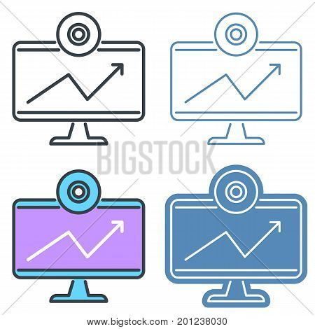 Desktop monitor with webcam vector outline icon set. Office supply line symbols and pictograms. Vector thin contour infographic elements. Illustrations for web design, presentations, networks.
