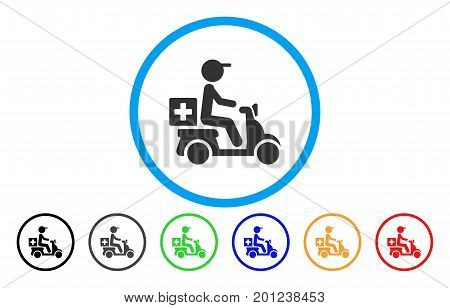 Drugs Motorbike Delivery rounded icon. Vector illustration style is a flat iconic symbol inside a circle, with black, gray, green, blue, orange, red color versions.