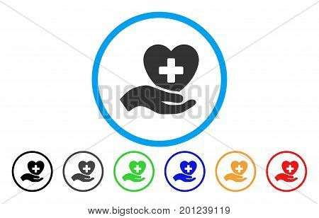 Hand Offer Cardiology rounded icon. Vector illustration style is a flat iconic symbol inside a circle, with black, gray, green, blue, orange, red color versions.