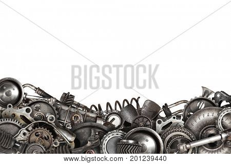Mechanical collage made of old auto spare parts car isolated
