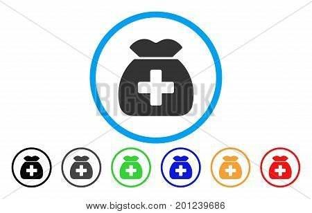 Medical Capital Fund rounded icon. Vector illustration style is a flat iconic symbol inside a circle, with black, grey, green, blue, orange, red color versions.