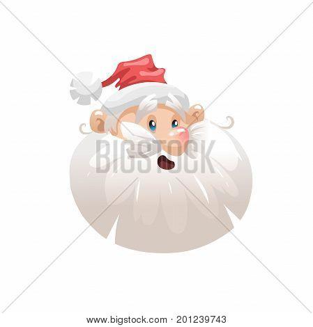 Funny cartoon style surpised santa in hat head icon. Emotion illustration. Christmas seasonal vector. Simple gradient artwork.
