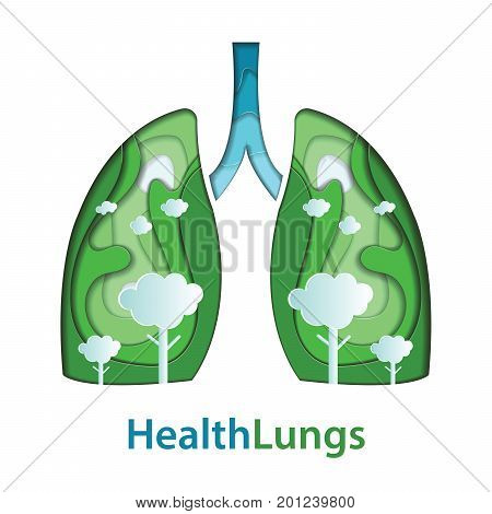 Human lungs paper cut of natural concept. vector illustration.