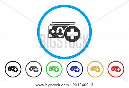 Medical Expences rounded icon. Vector illustration style is a flat iconic symbol inside a circle, with black, gray, green, blue, orange, red color versions. Designed for web and software interfaces.