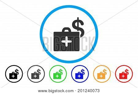 Medical Fund Case rounded icon. Vector illustration style is a flat iconic symbol inside a circle, with black, gray, green, blue, orange, red color versions. Designed for web and software interfaces.