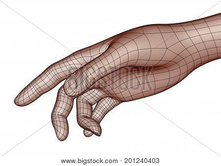 Wireframe Human Hand Pointing Or Touching Something With Index Finger