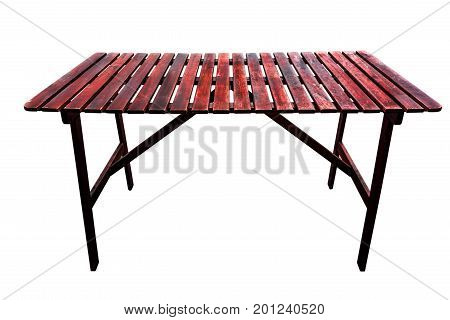 Wooden red table isolated on the white background
