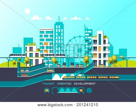 Flat illustration with city landscape. Transport mobility and smart city. Traffic info graphics design elements with transport, including plane, bus, metro, train, cars.