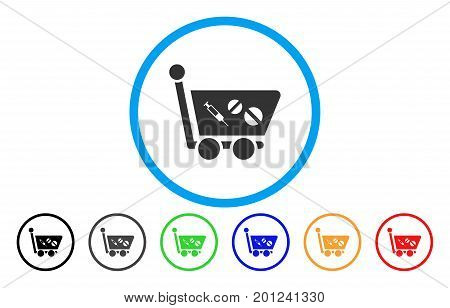 Medication Shopping Cart rounded icon. Vector illustration style is a flat iconic symbol inside a circle, with black, grey, green, blue, orange, red color versions.