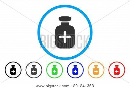 Medication Vial rounded icon. Vector illustration style is a flat iconic symbol inside a circle, with black, gray, green, blue, orange, red color versions. Designed for web and software interfaces.
