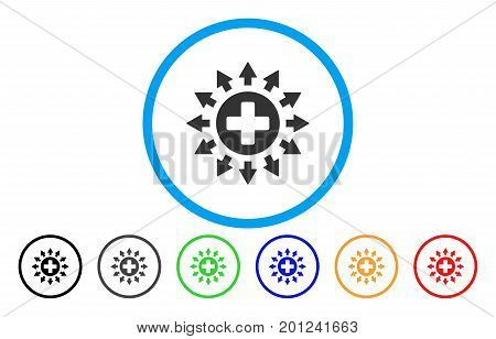 Pharmacy Distribution rounded icon. Vector illustration style is a flat iconic symbol inside a circle, with black, grey, green, blue, orange, red color versions.