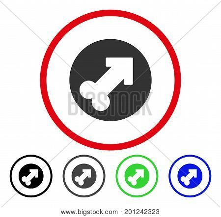 Erection rounded icon. Vector illustration style is a flat iconic symbol inside a red circle, with black, grey, blue, green versions. Designed for web and software interfaces.