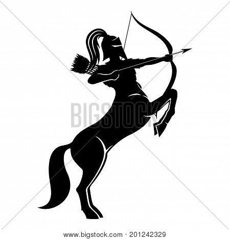Centaur archer sign on a white background.