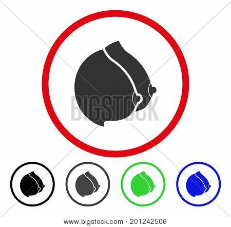 Female Tits rounded icon. Vector illustration style is a flat iconic symbol inside a red circle, with black, gray, blue, green versions. Designed for web and software interfaces.