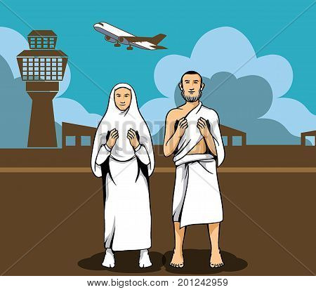 Vector illustration of hajj pilgrim praying and the airport background