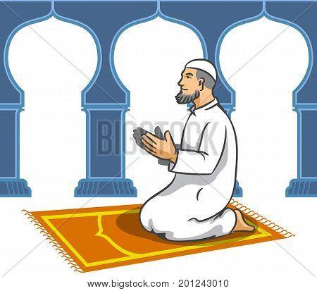 Vector illustration of Moslem men sit and pray