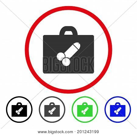 Sexual Toolbox rounded icon. Vector illustration style is a flat iconic symbol inside a red circle, with black, gray, blue, green versions. Designed for web and software interfaces.
