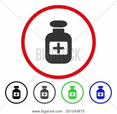Drugs Bottle rounded icon. Vector illustration style is a flat iconic symbol inside a red circle, with black, gray, blue, green versions. Designed for web and software interfaces.