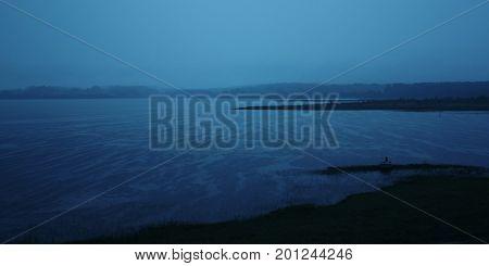 Evening Rain On The Kenozero Lake. Summer Night.