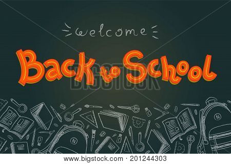 Back to school doodles in chalkboard background. Outline style. Back to school thin line vector doodle illustration template. Sketchy vector concepts with stationery for graphic design, web banner and printed materials. Back to school. Writing materials.