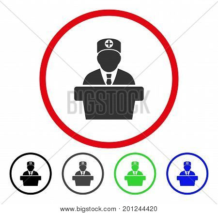 Medical Official Lecture rounded icon. Vector illustration style is a flat iconic symbol inside a red circle, with black, gray, blue, green versions. Designed for web and software interfaces.