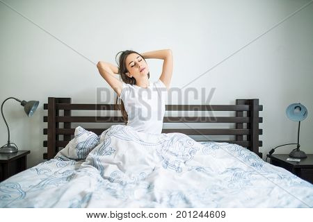 Happy Morning Of Beauty Woman Streching In Bed At Home