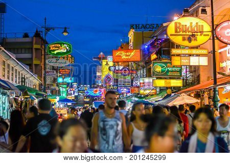 Bangkok, Thailand - August 23, 2017: People walking along the busy streets of Khao San Road in Bangkok, Thailand.