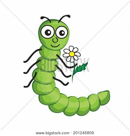 illustration of isolated cartoon worm on white background with flower