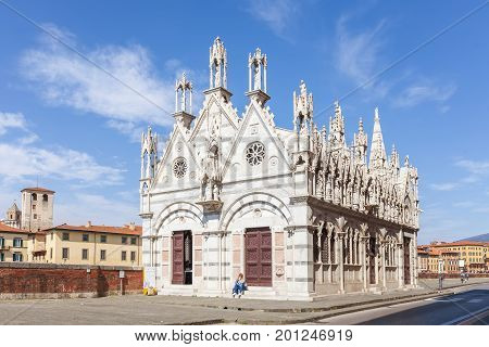Pisa, Italy - April 07, 2017: The church Santa Maria della Spina  is one of the most outstanding Gothic edifices of Europe
