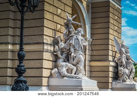 Odessa Opera and Ballet Theater with ancient statues