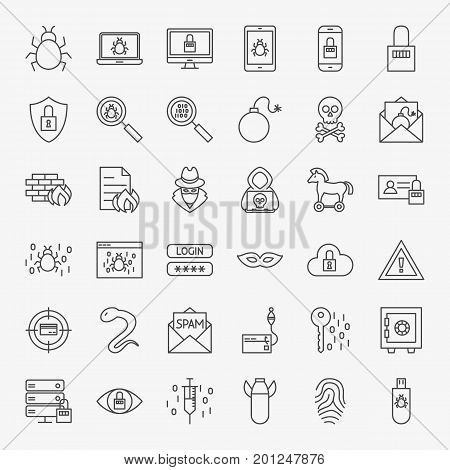 Cyber Security Line Icons. Vector Set of Outline Hacker Attack Symbols.