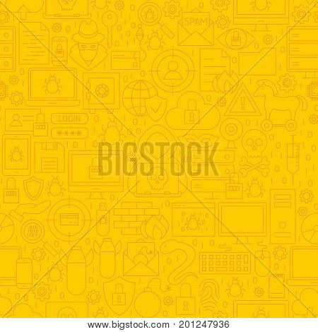 Cyber Security Yellow Line Pattern. Vector Illustration of Outline Background.