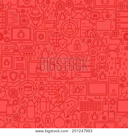 Hacker Line Tile Pattern. Vector Illustration of Outline Background.