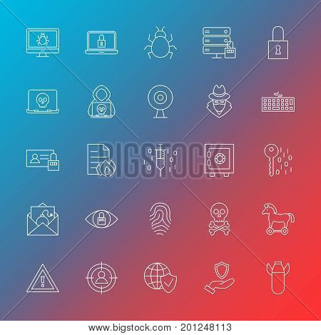 Internet Security Line Icons. Vector Illustration of Outline Hacker Symbols over Blurred Background.