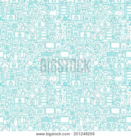 Internet Security White Seamless Pattern. Vector Illustration of Outline Background.
