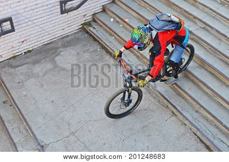 Resita Romania October 9: Athlete descending on stairs at the Metal Enduro contest held every year in Resita Romania. Shot taken on October 9th 2016