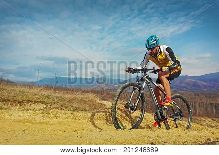 Tarcu Romania - March 16 2017: Cyclist in training session on offroad trail. Shot taken on March 16th 2017