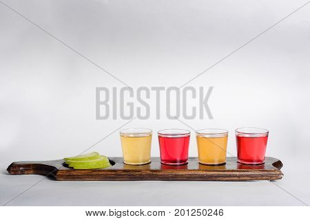 Colored shots with different alcohol shot close-up