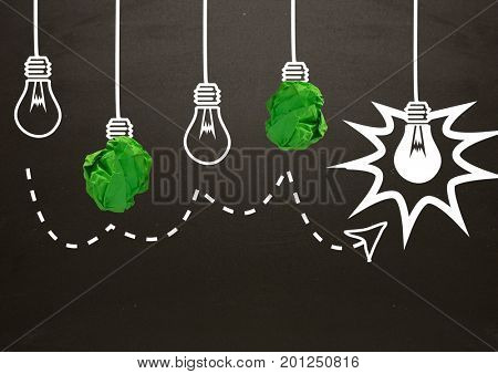 Digital composite of light bulbs with crumpled paper balls in front of blackboard